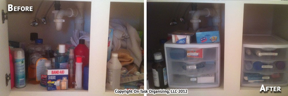 Bathroom Cabinet 2 Before & After Organizing