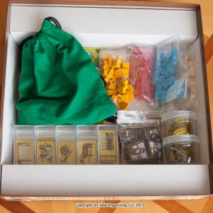 Board Game pieces organized with small plastic baggies, Lock-ups and Amac Boxes