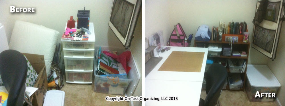Craft room organization before and after. Cluttered before, tidy after.