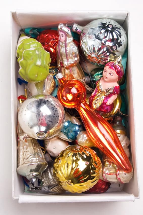 Box of inherited holiday decorations