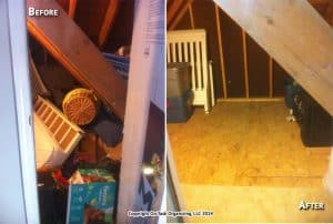 An attic storage area before and after a 4 hour organizing session with On Task Organizing, LLC in Raleigh, NC