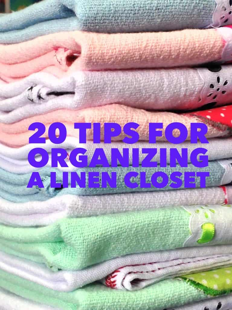 Folded towels, title for 20 tips for organizing a linen closet