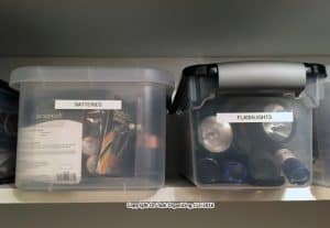 photo of two clear bins containing batteries and flashlights in a storage closet organized by On Task Organizing, LLC