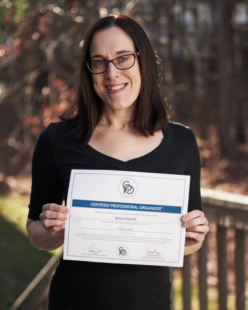 Nancy Haworth with her Certified Professional Organizer certificate